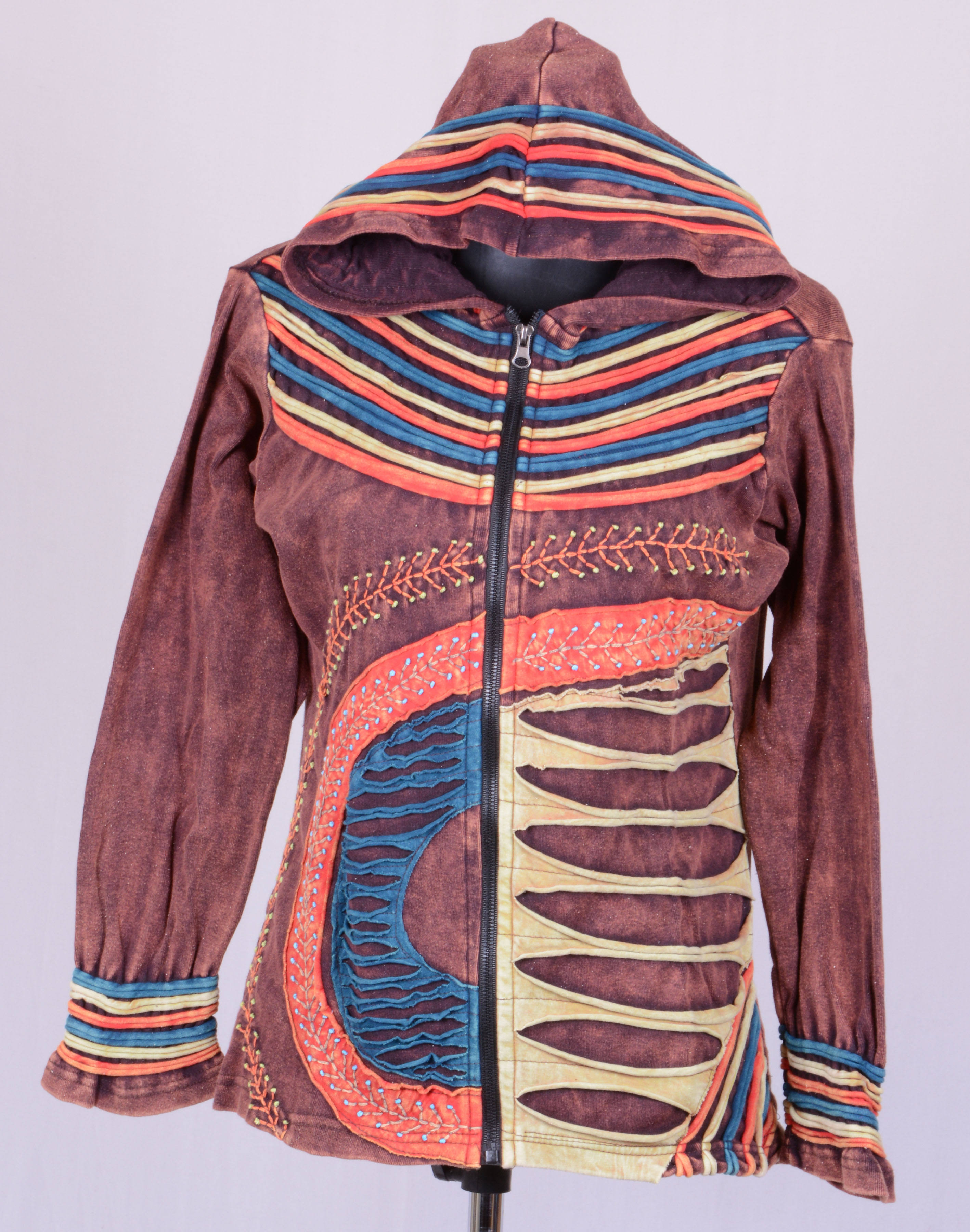 Stonewash Razor Cut Jacket With Pixie Hoodie 100/% Cotton Hippie Nepal Boho Coat
