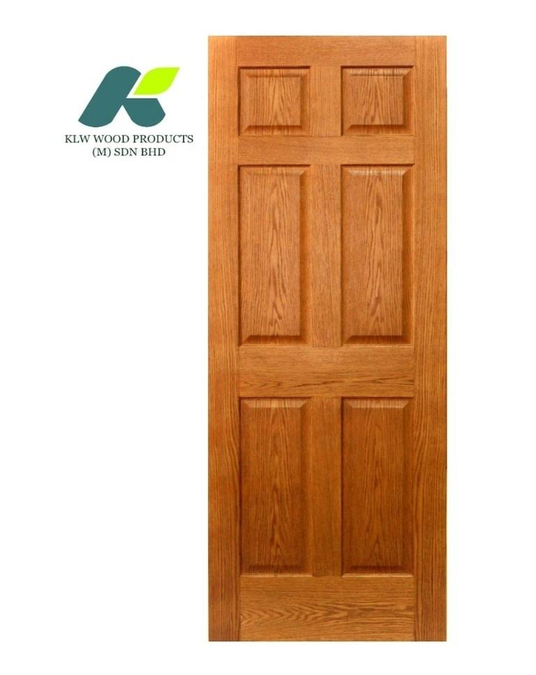Modern 6 Panel Raised Red Oak Interior Door with Quality Veneer, Prefinished Solid Core Door (6P Raised, Prefinished)