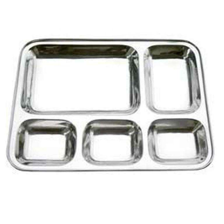 Made In India New Stylish Stainless Steel Rectangular Thali Five Compartment Plate Dinner Tray