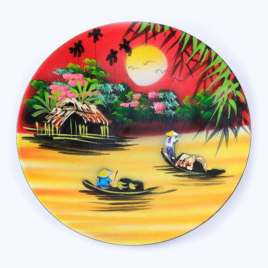Hot Selling WholeSale Serving New Handicraft Competitive Price Premium Wood Wall Multi-Color Viet Nam Lacquer Plate