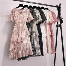 Summer Polka Dot Women Ruffles Midi Dress 2019 Office Elegant Vintage Floral Print Holiday Beach Retro Women Short Wrap Dress