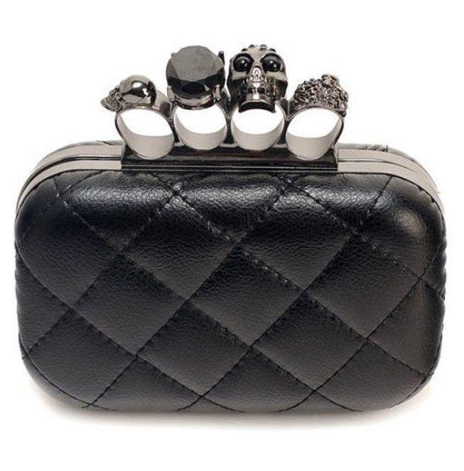 Gothic Black PU Leather Skull Knuckle Rings Clutch IN WHOLESALE RATES
