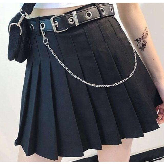 Pleated High Waist Goth Mini Skirt