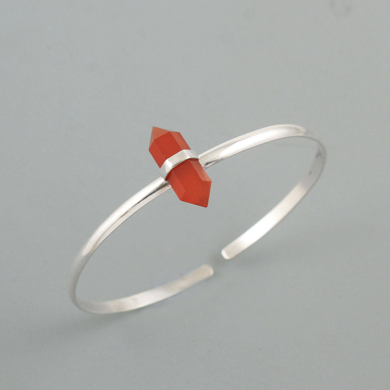 Pencil quartz red onyx gemstone 925 sterling silver cuff bangle wholesale silver jewelry