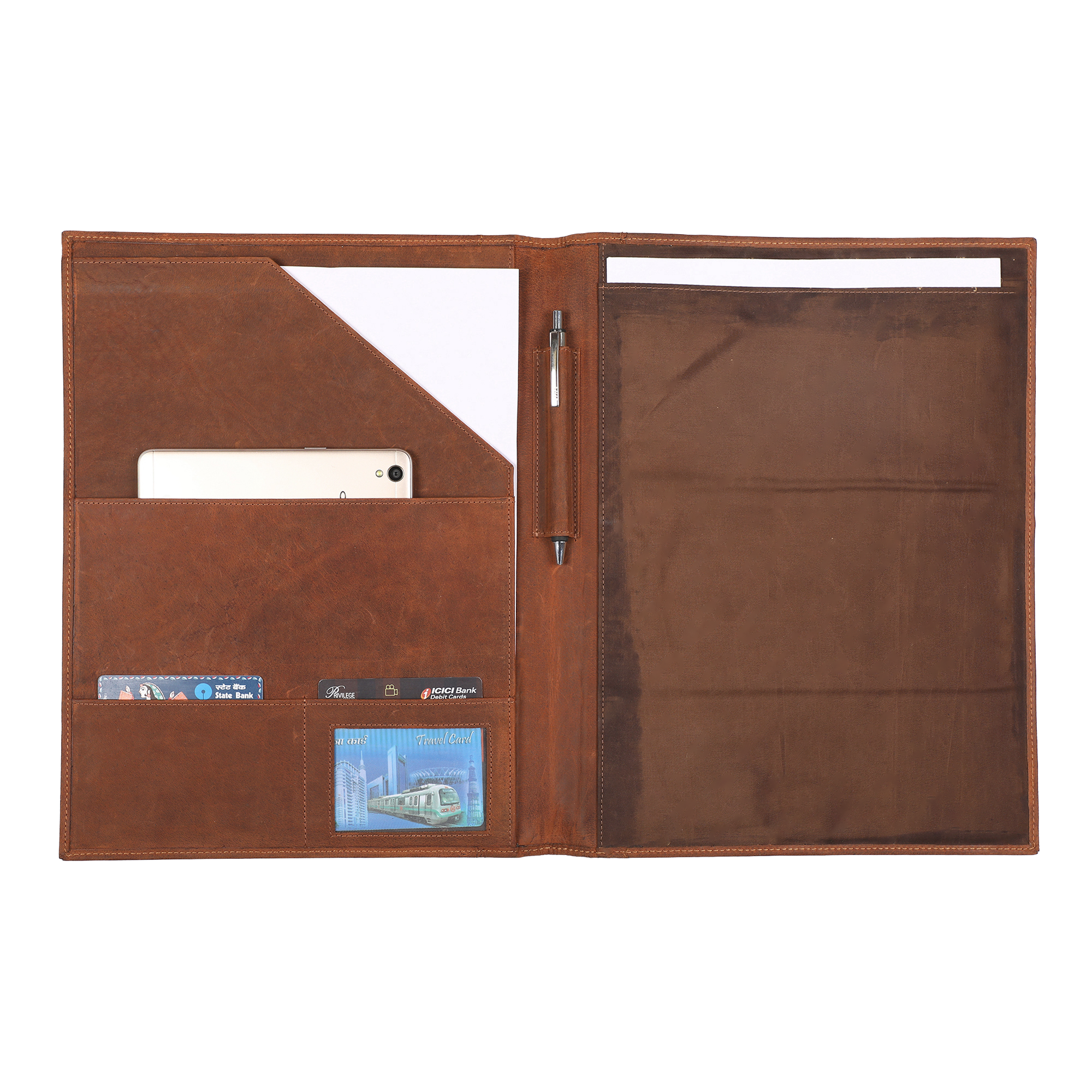 Handmade Genuine Vintage Business Portfolio Professional Organizer for Men and Women | Durable Leather Padfolio