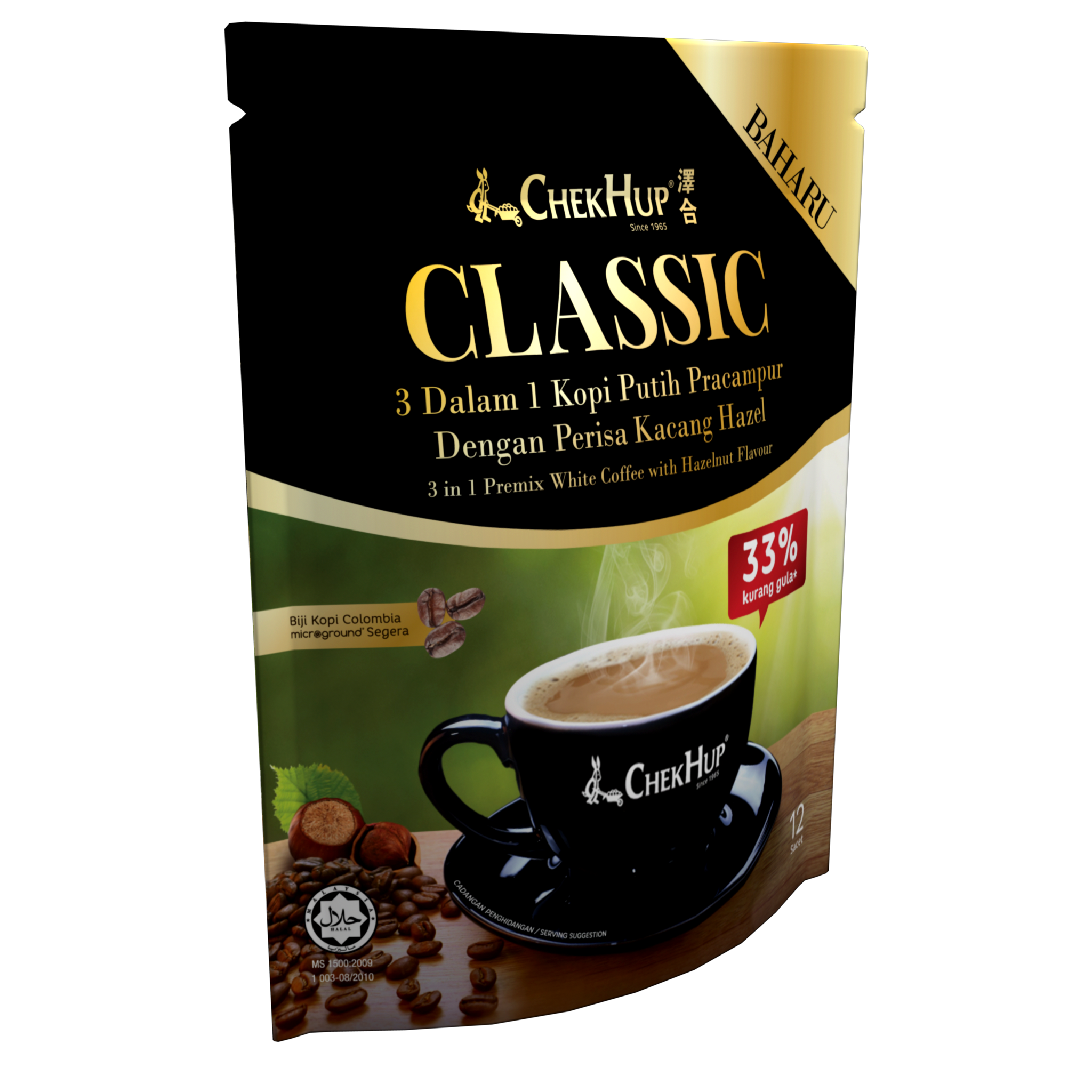 Export Instant Coffee Chek Hup 3 in 1 Classic White Coffee With Hazelnut And Cream Flavor