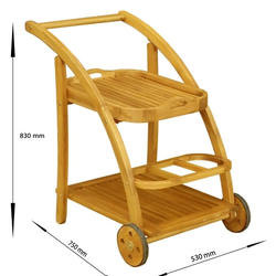 Wholesale Wood Trolley Size 54x78x82 cm Material Acacia Wood And Warranty 12 Months
