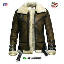 B-3 Mens Aviator Jacket  shearling sheep skin Leather  Bomber Aviator Jacket With Fur Collar