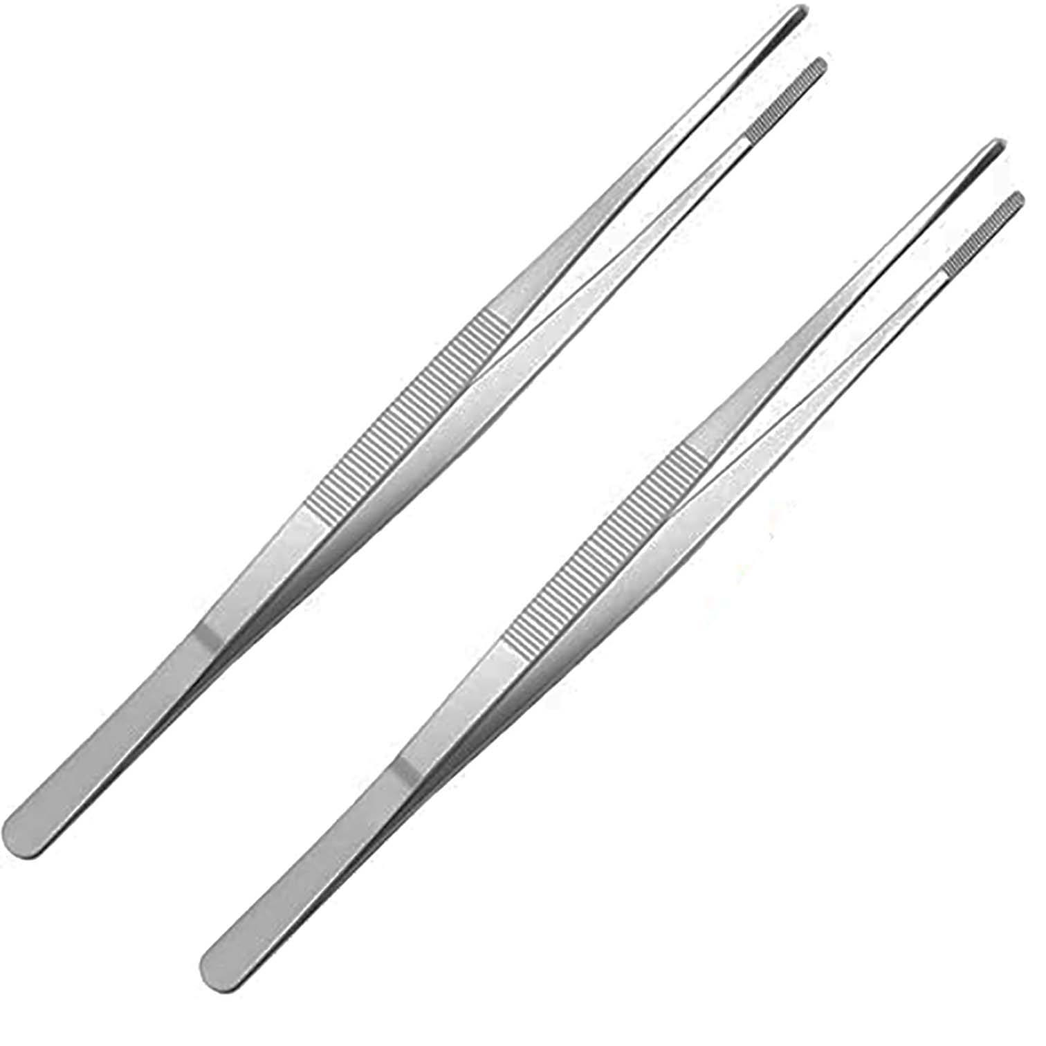 Stainless Steel BBQ Cooking Pincer Narrow Tweezer Tongs Needle Nose Pointy