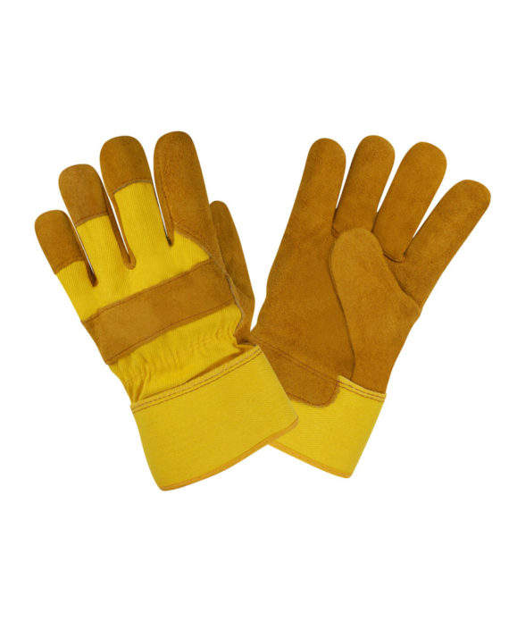 Premium Cowhide Leather Palm Work Gloves with Safety Cuff. Gardening, Landscaping and Construction - One Size Fits Most