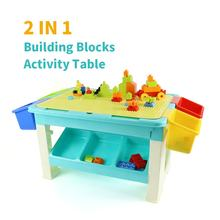 Multifunctional Storage Construction Toy Set Building Block Table Preschool Early Learning Montessori Educational Toy for Kids