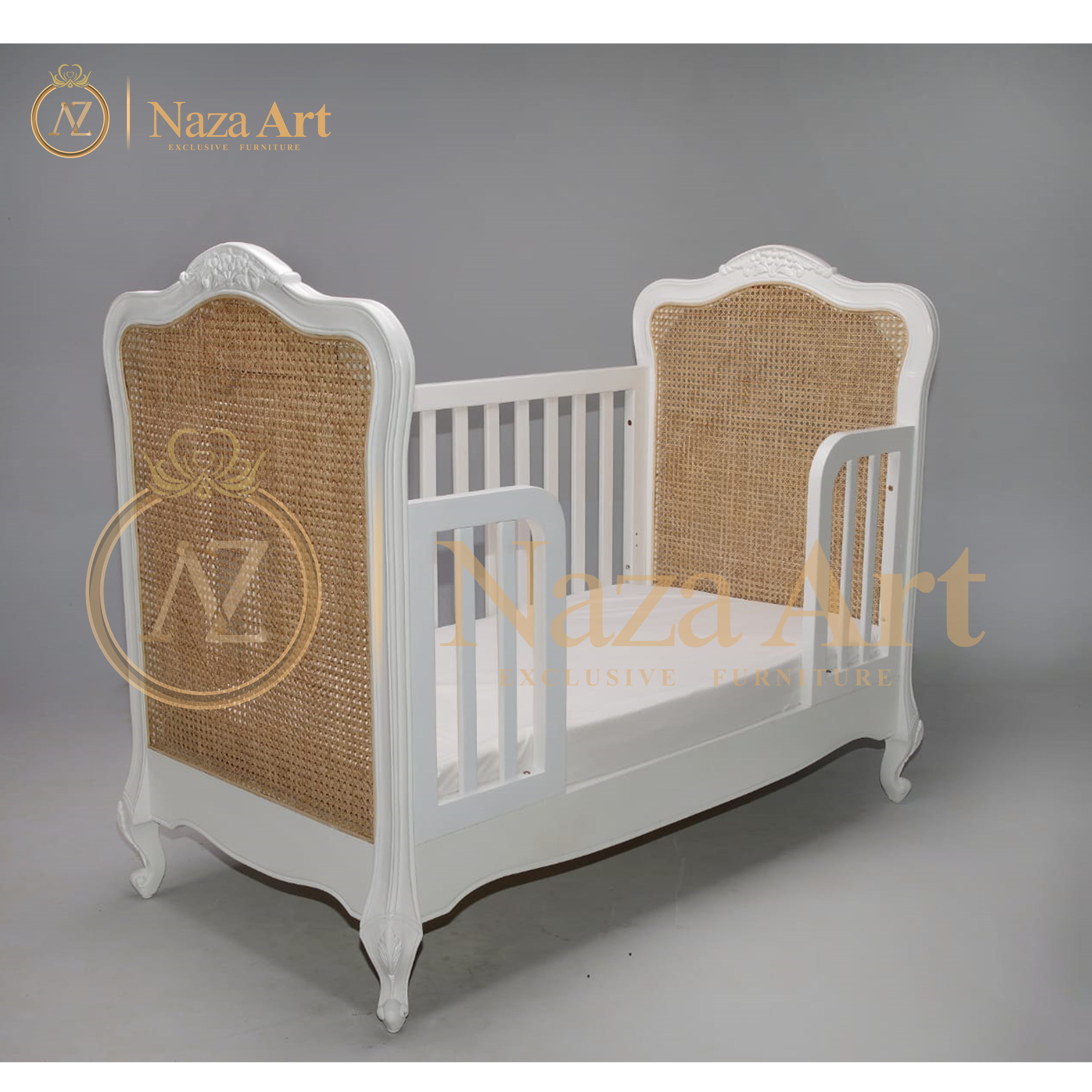 Shima Rattan Baby Crib With Rattan, White New Style Baby Crib With Rattan