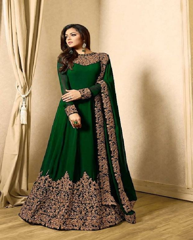 Indian Style party wear Fancy evening Gown Embroidery work with low price
