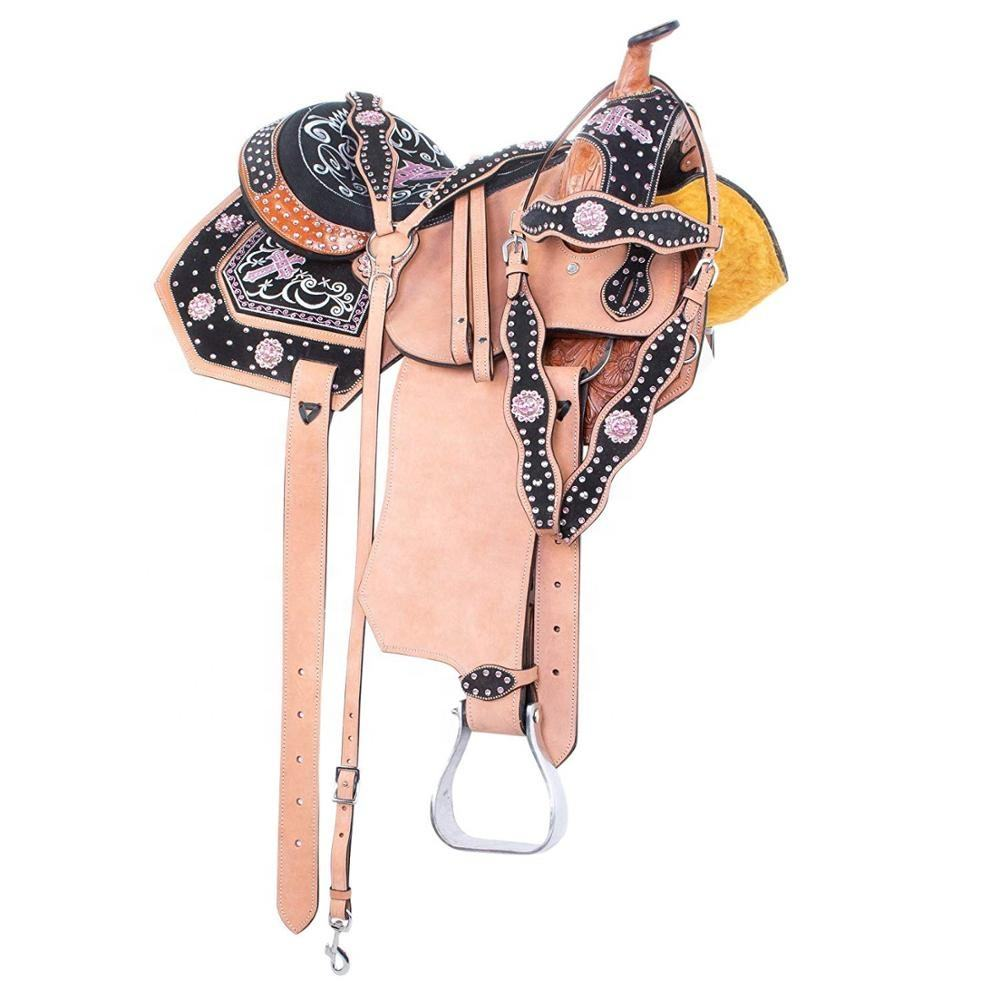 Pink Cross Western Barrel Racing Leather Horse Saddle TACK Headstall REINS Breast Collar Set