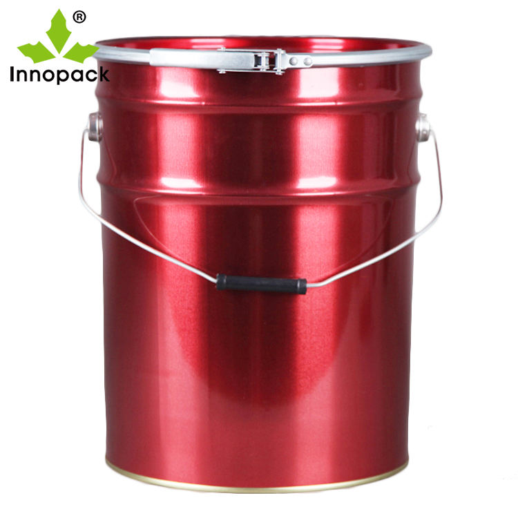 Red Painted outside metal bucket with galvanized lock ring lid
