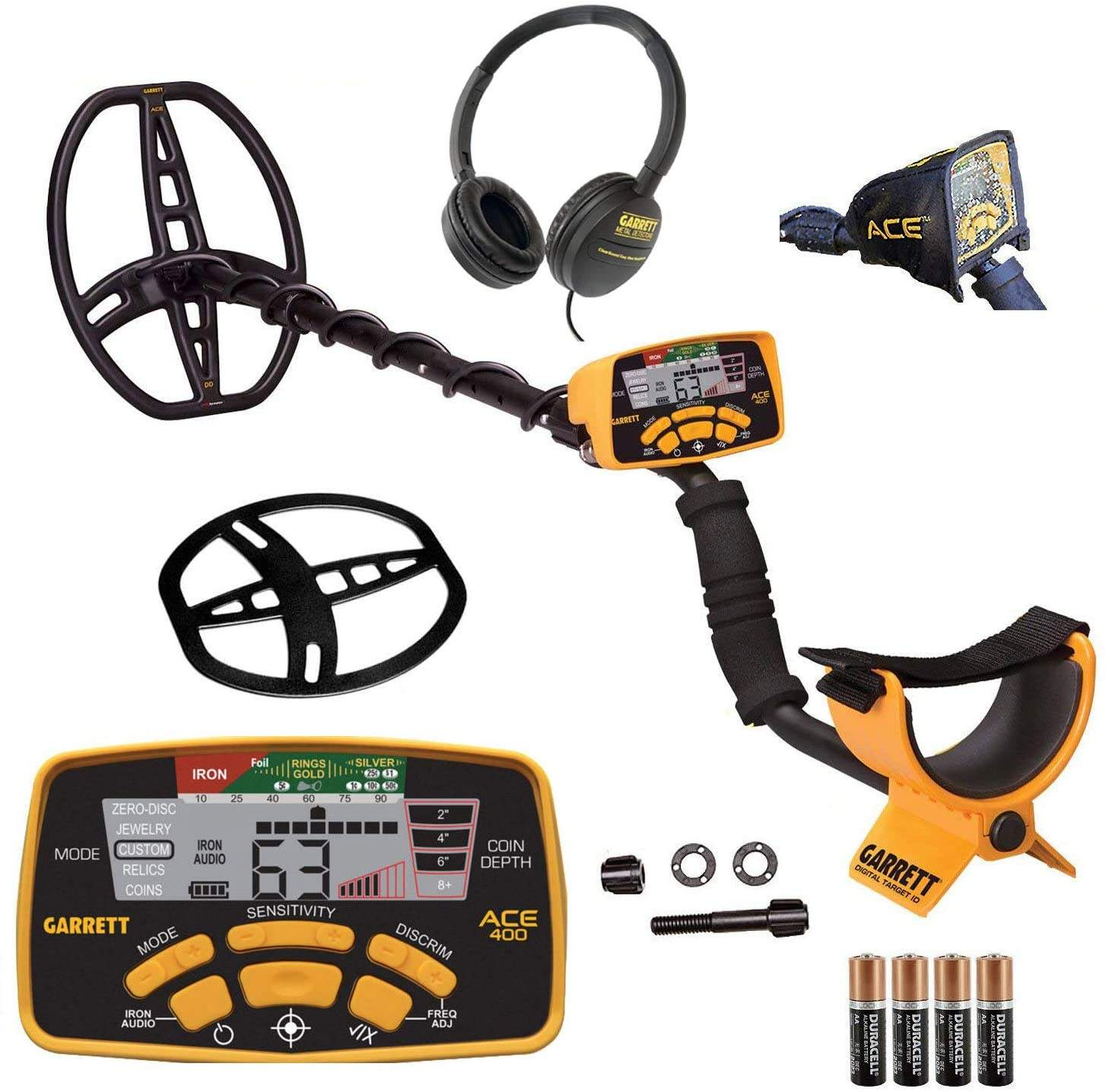 Garretts Ace 400 Metal Detector with Waterproof Coil and Headphone Plus Accessories