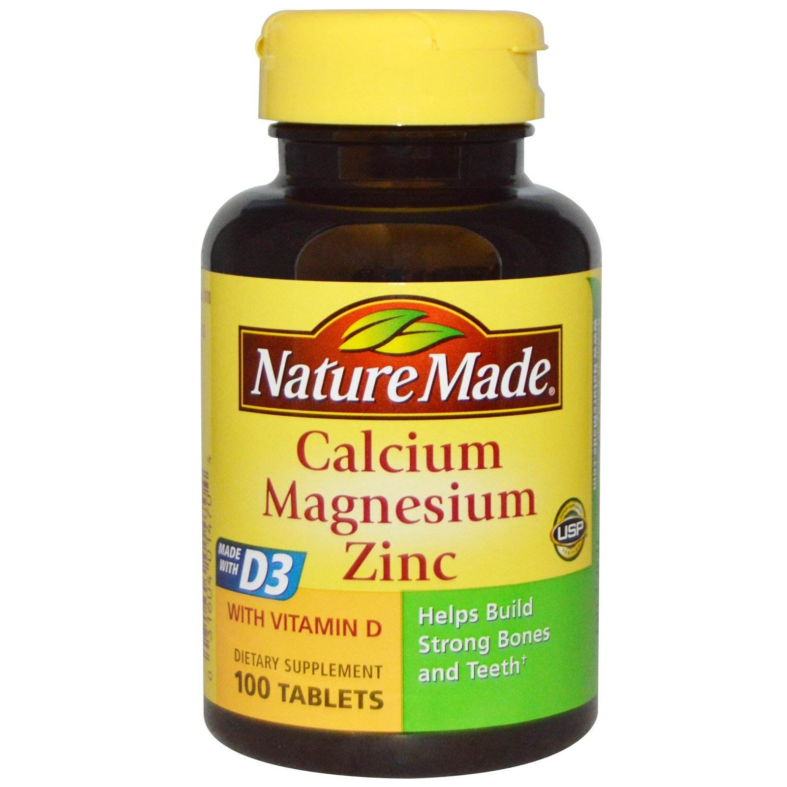 Nature Made Calcium Magnesium Zinc, 100 tablets, With Vitamin D, Helps Support Strong Bones and Teeth