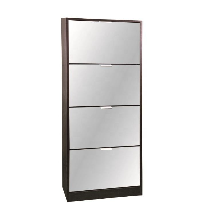 Fast delivery fashion design super quality 4 tier wood modern shoe cabinet with mirror