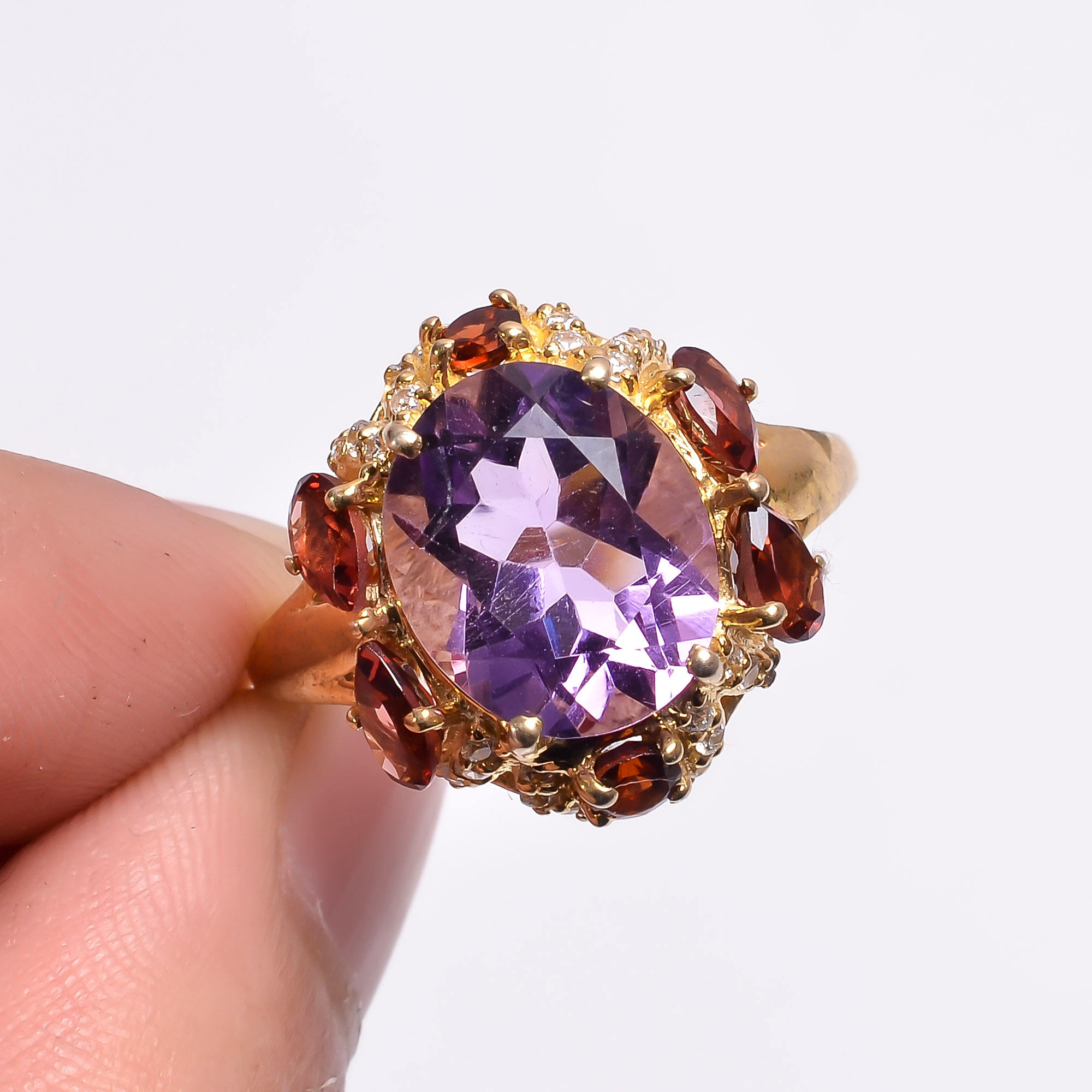 High Quality Natural Amethyst Garnet Zircon Gemstone 925 Sterling Silver Gold Plated Pave Designer Jewelry Ring US -7 SKR-131