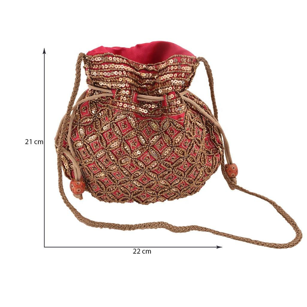 Indian Handmade Embroidery Potli Bags Wedding Festive Party Use Handbags Wholesale Potli Bags Handcrafted Pouches