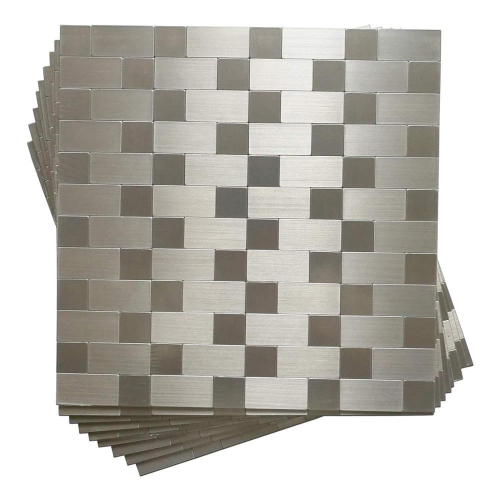 "10-Pack Self-Adhesive Metal Backsplash, Peel and Stick Metal Tile for Kitchen, 12"" x 12"" Silver Aluminium Surface"