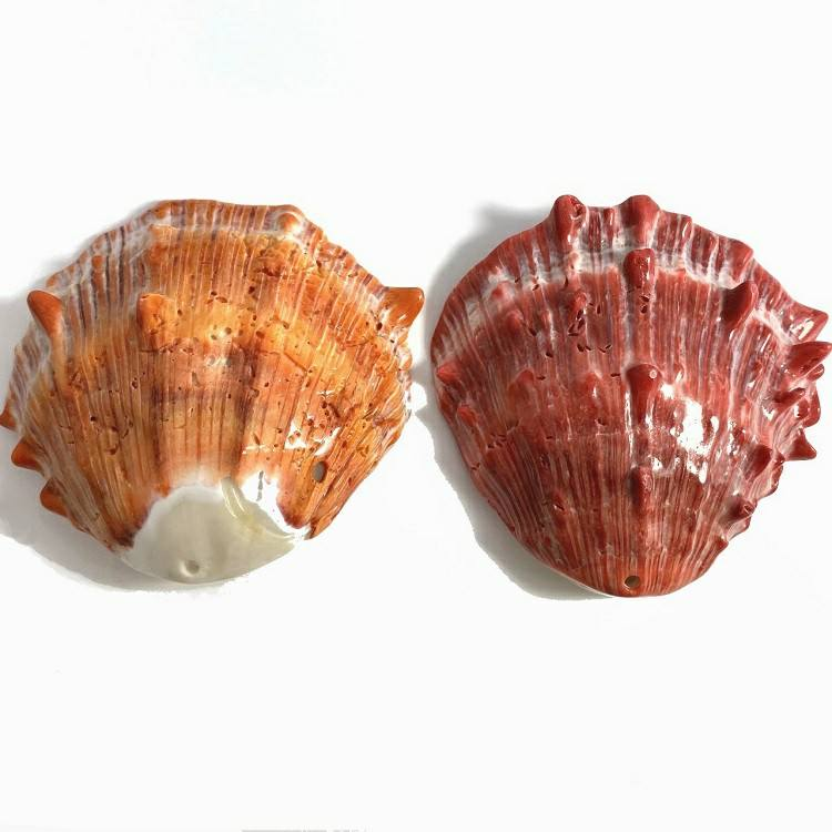 Wholesale Mother of Pearl Natural Sea Orange Shell Spiny Oyster Shell Original Clam Pendant