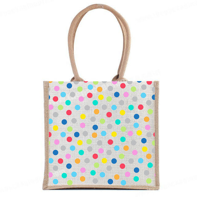 In Shopping Tote Fashion jute bags With multi color printed our certification ISO 9001:2015 ISO 14001:2015 SA 8000:2014