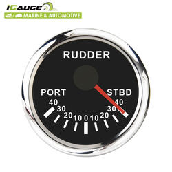 52mm Electrical Black Face White LED Rudder Angle Indicator for marine