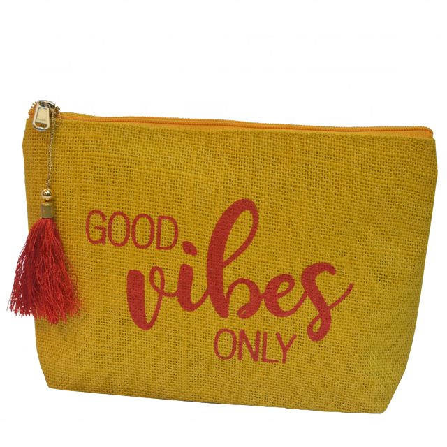 Cosmetic Bag / Yellow Jute Cosmetic Pouch with red screen printing, hanging tassel & zipper SA 8000-2014 Certified India made