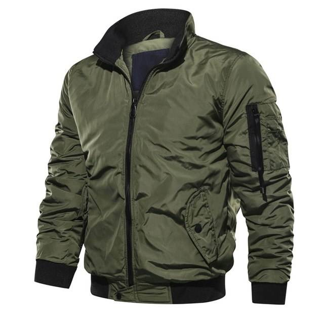 New Men Causal Zipper Polyester Waterproof Military Bomber Jacket