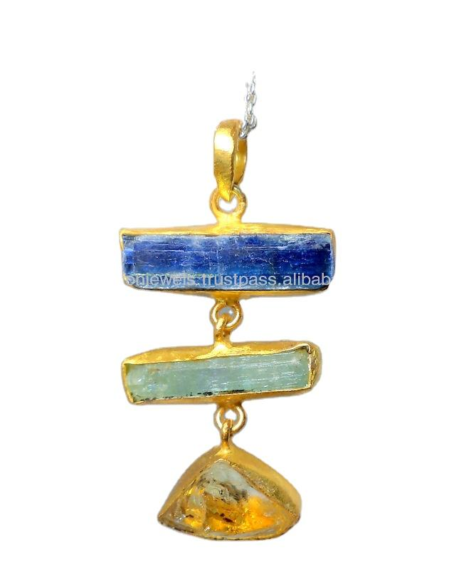 Kyanite Aquamarine & Citrine 925 Sterling Silver Gold Plated Long Pendant