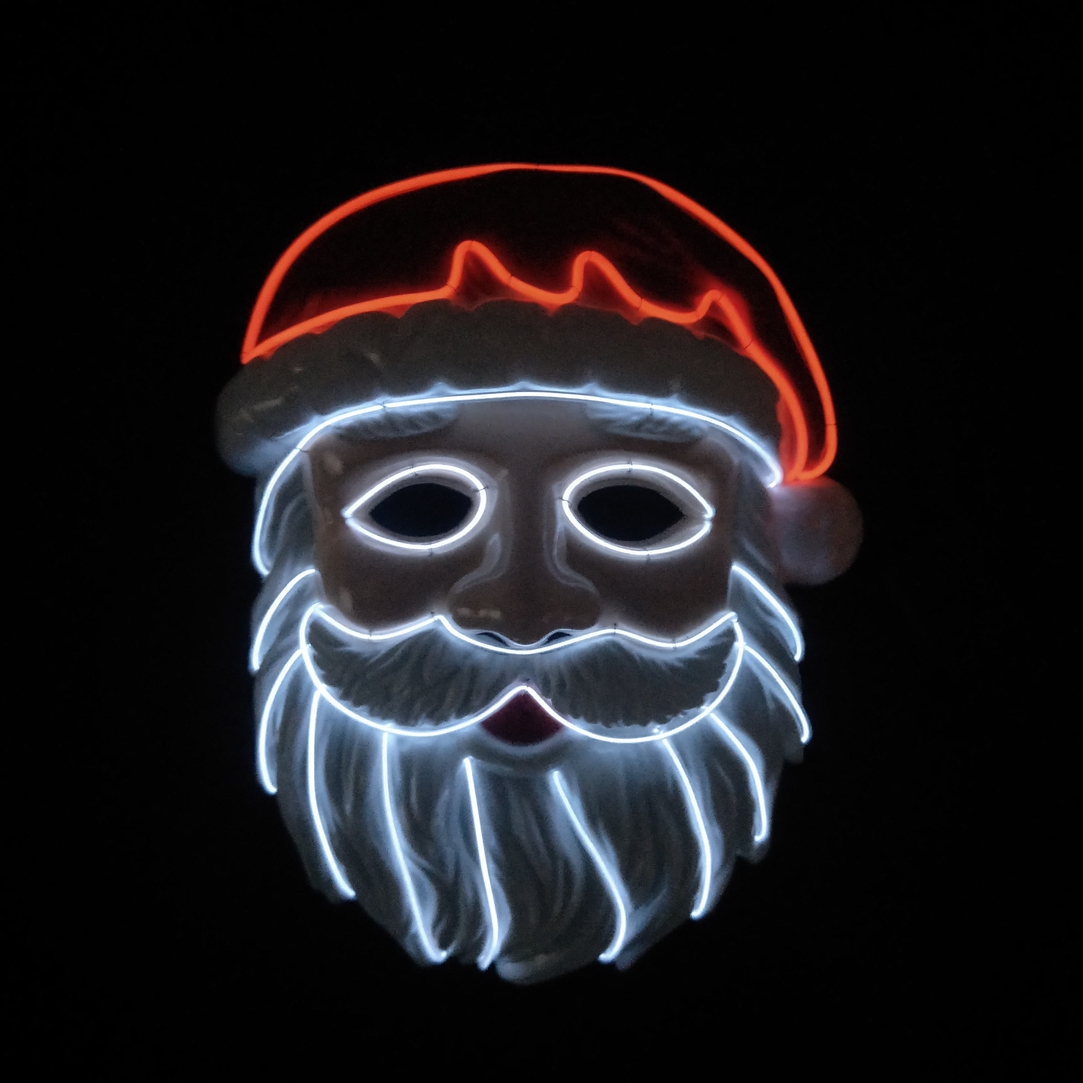 El Wire Light Up Santa Claus Mask Halloween Full Face Cold Light Mask