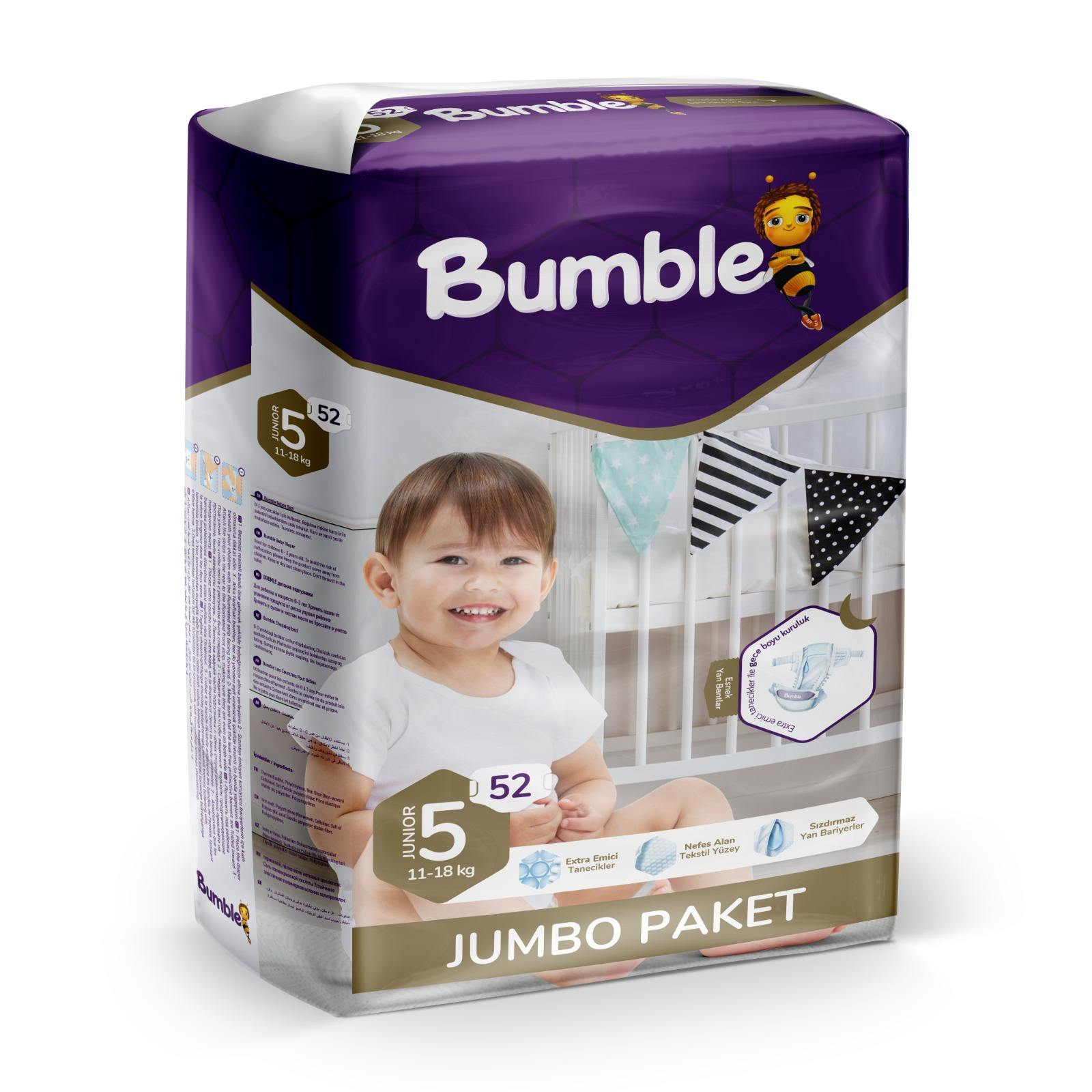 Bumble Baby Diapers Jumbo No:5 52's Disposable Baby Diaper Bumble Brand