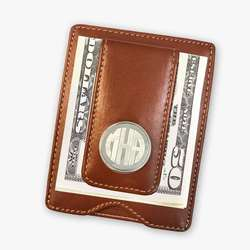 Leather Money Clip Brown