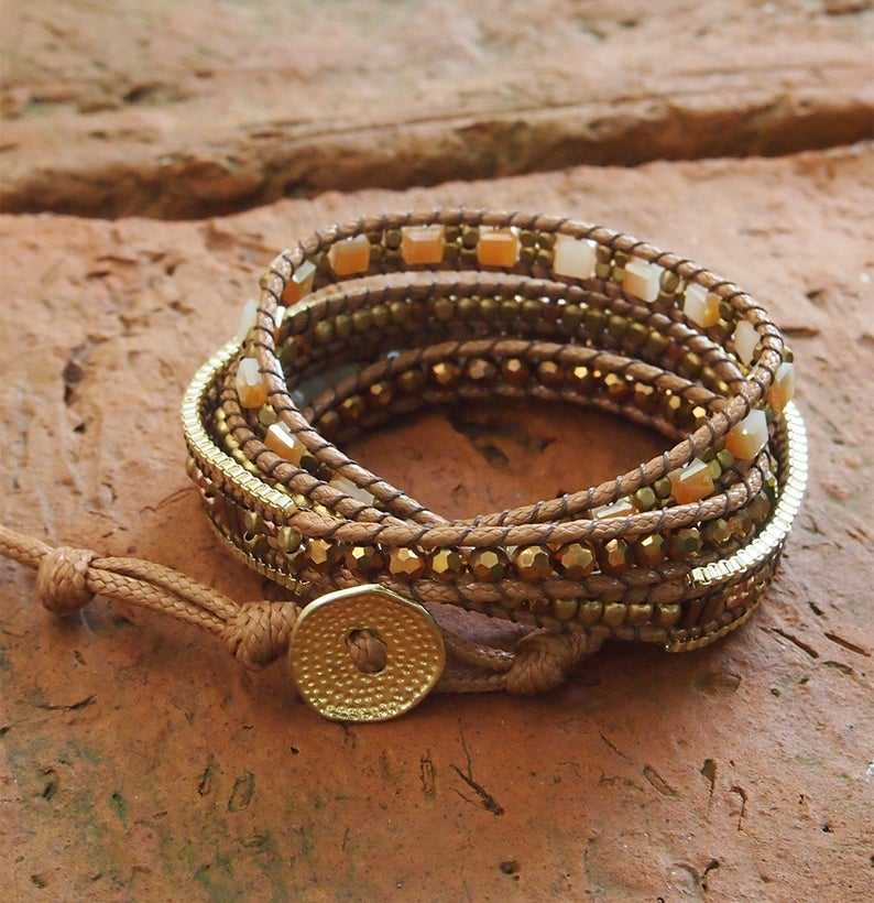 Brown Crystal Kralen Mix-Boho Wrap Armband-Oem Armband