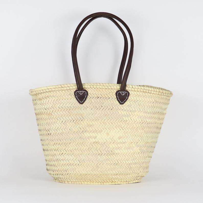 Straw Market Basket bag with Long BROWN Leather Handles