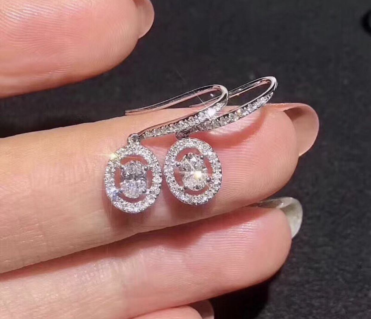 Oval Cut Moissanite Diamond 14 K Emas Anting-Anting Di Harga Grosir