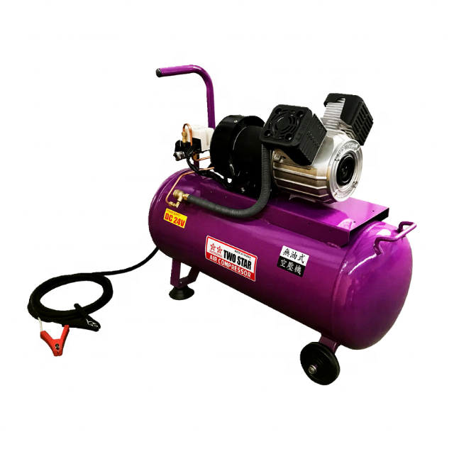 48V High Efficiency Weatherproof Long Duty Cycle DC Oil free Twin Piston Mobile Air Compressor Machine with 50 liter tank