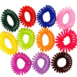 Rubber Hair Tie Assorted Colors - Elastic Coil Spiral Hair Band - Wristband Spring Bracelet - Party Favor Carnival Prize