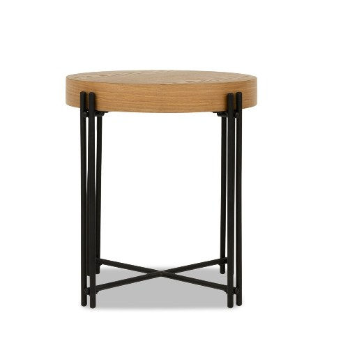 Industrial Round Wooden And Iron Side Table End Table (Natural Wood)