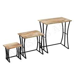 Rustic Industrial Formhouse Metal Wood Nest of Three Tables, Vintage Modern Solid Mango Wood Iron Nesting Tables Set of Three