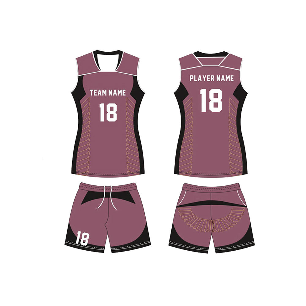 Pakistan Manufactured Unisex Volleyball Uniform Jerseys And Shorts With Custom Team Logo