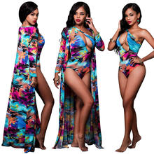2020 New Swimwear One Shoulder Tie Dye Keyhole Onepiece Swimsuit Cover Up Set