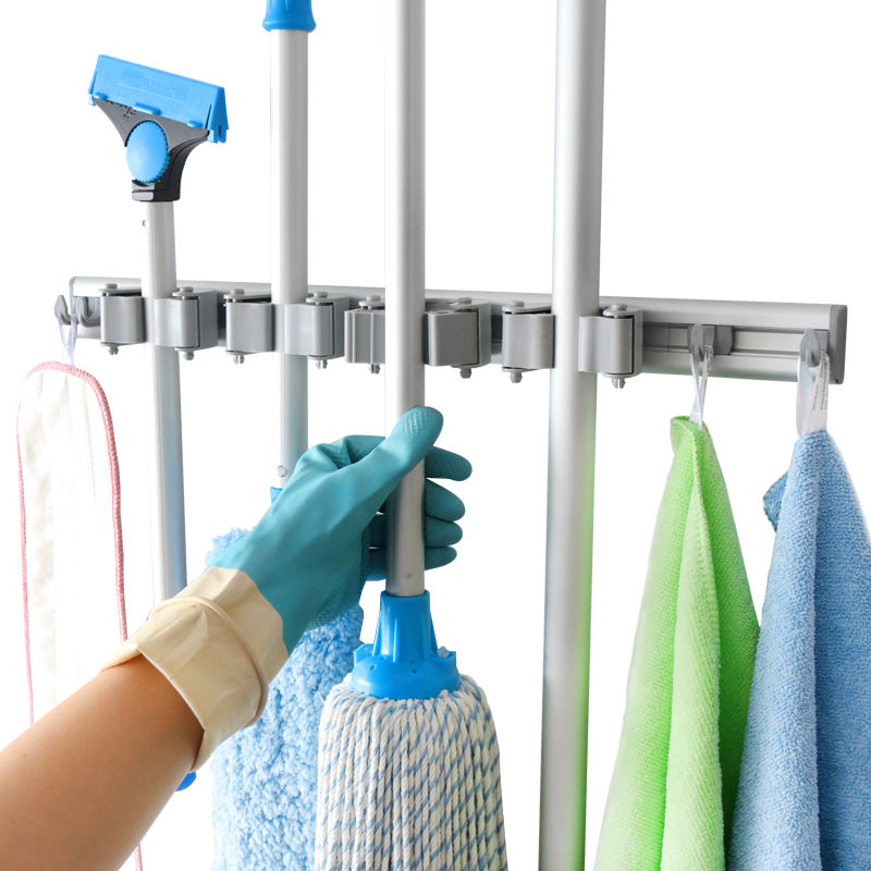 OEM Closet Tools Storage Grippers Aluminium Rail Rubber Clip with Hanger Rack Hooks Wall Mounted Broom Mop Holder Organizer
