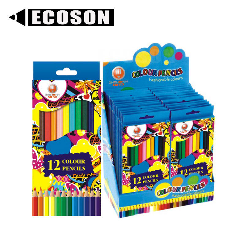 FREE SAMPLE Children Hexagonal 12 Color Pencils Colour Set Wood Water Colour Pencil Set Wholesale Wooden Colour Pencil Set