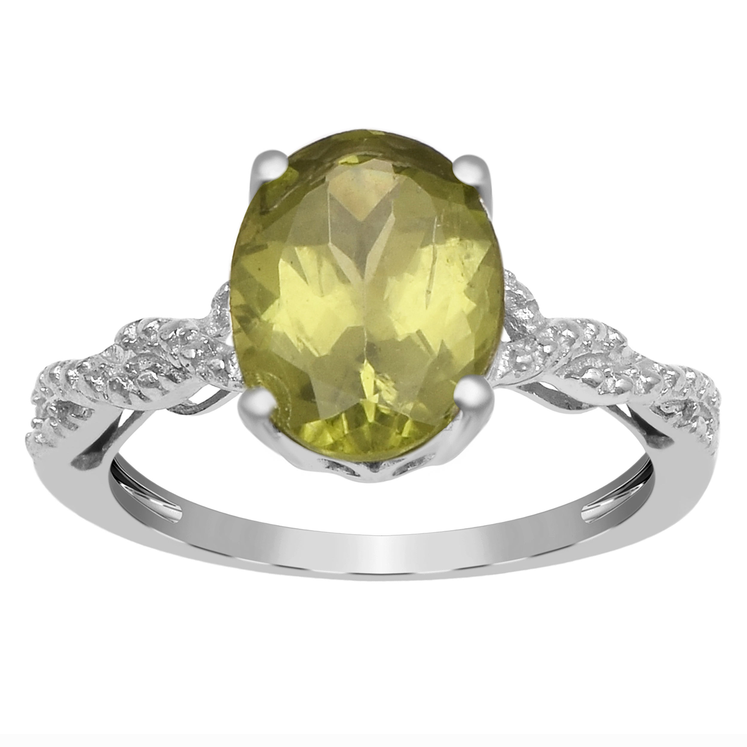 Solitaire Cut 1.00 Ctw Peridot Gemstone 925 Sterling Silver Women Promise Ring