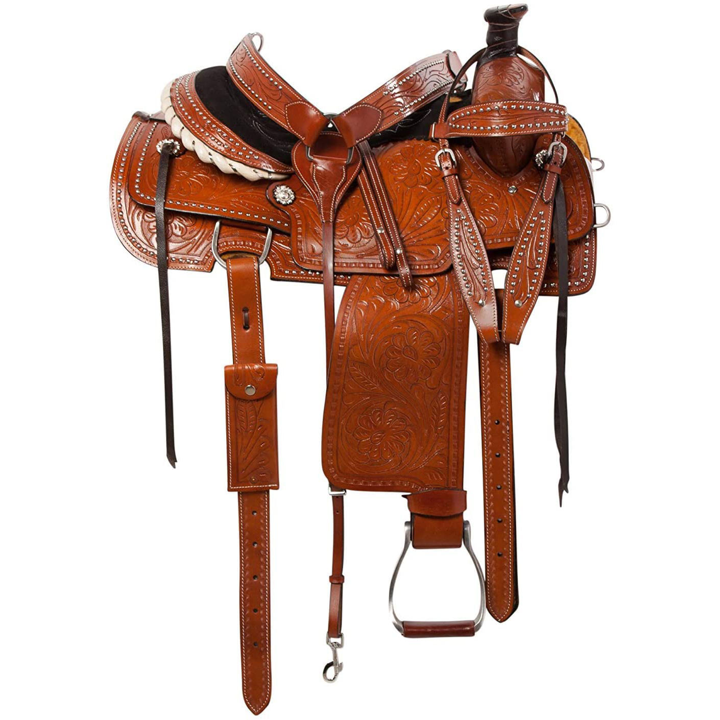 Premium Western All Purpose Leather Roping Ranch Work Horse Saddle Tack By A.H. SADDLERY