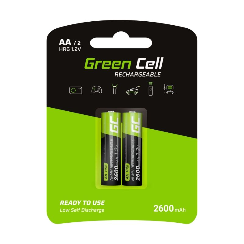 2x AA rechargeable Ni-MH batteries 2600mAh HR6 Green Cell
