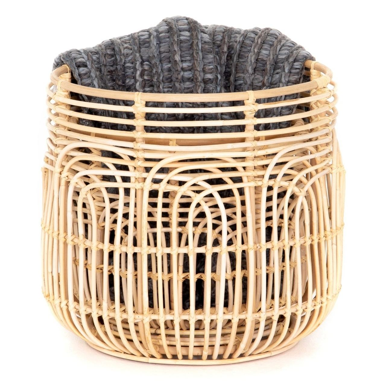 Set of 2 Round Rattan Storage Basket with Handles for Laundry Containing Wholesale from Glovimex