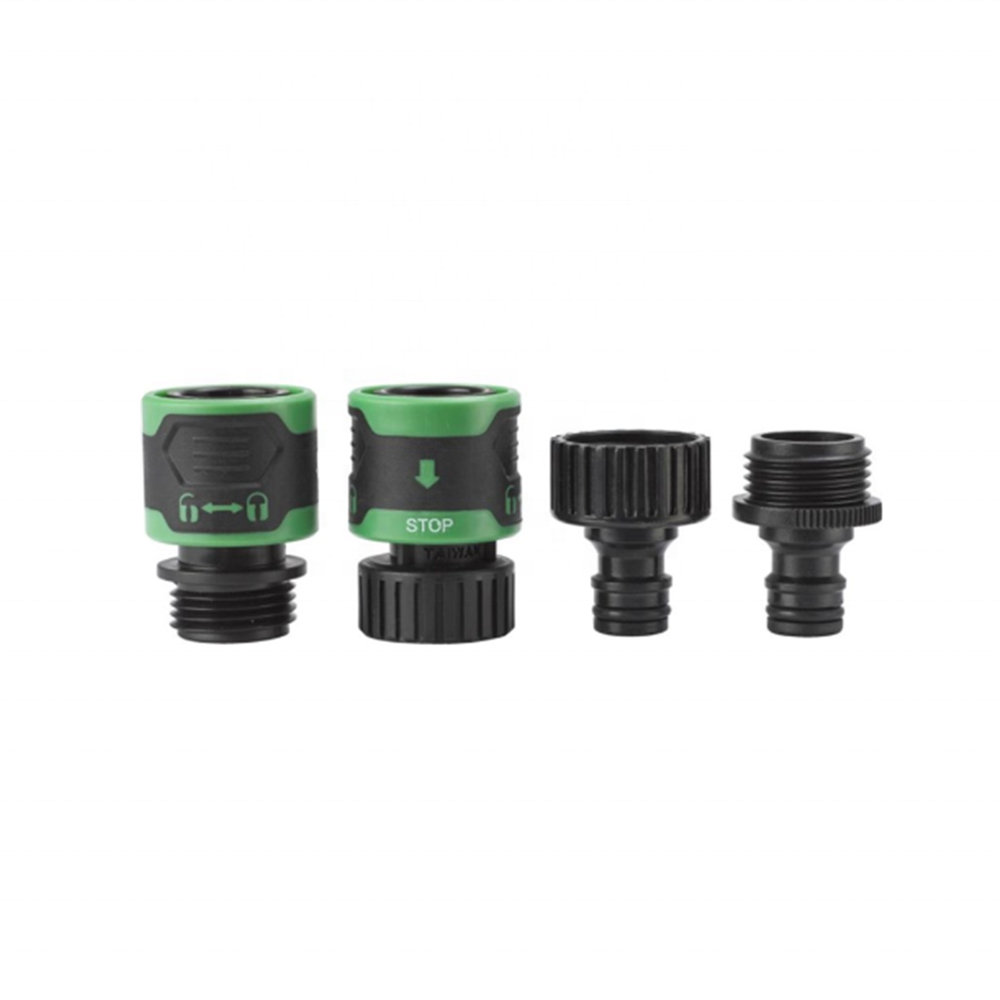 "4 Pieces Hose Connector Set Include 3/4"" Faucet Adaptor and Quick Screw Hose Connector Water Stop Twist and Lock Function Garden"